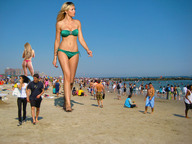 abigail_clancy barefoot beach beach_goers blonde collage giantess giantesses mini_giantess resort sand sky swimsuit walking wonderslug // 2592x1944 // 878.7KB